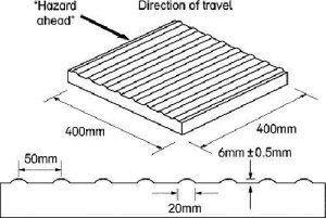 (Photo: Τύπου Γ - ΠΡΟΕΙΔΟΠΟΙΗΣΗ: Ριγέ, με πυκνές και στενές ρίγες, κάθετα στην πορεία όδευσης ή στην αρχή και το τέλος κεκλιμένων επιπέδων -ραμπών-)