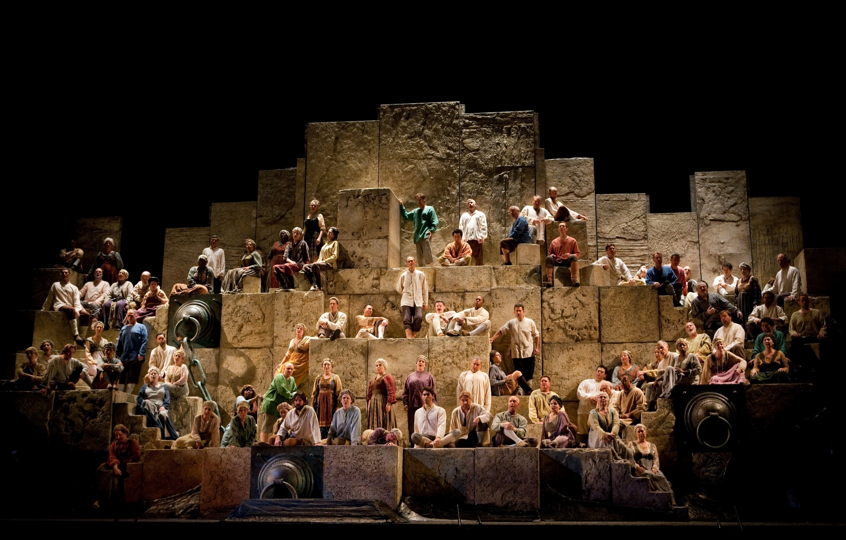 """Va, pensiero"" during Verdi's ""Nabucco."" Photo: Marty Sohl/Metropolitan Opera Taken at the Metropolitan Opera during the rehearsal on September 23, 2011."