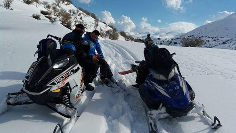 Snowmobiling στον χιονισμένο Ψηλορείτη