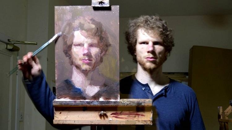 Ζωγράφος κάνει το πορτρέτο του μπροστά στον καθρέφτη